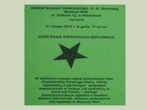 La informfiŝo pri laTago de la Esperantlingva Radiofonio en Varsovio